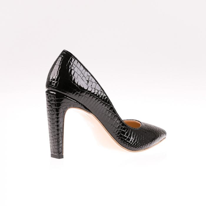 Pantofi stiletto din piele naturala lacuita Croco Negru 1