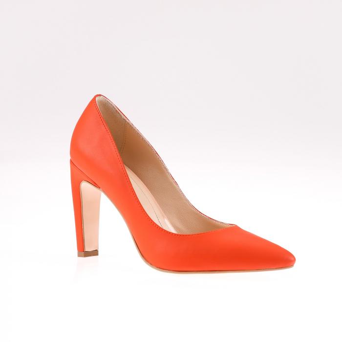 Pantofi stiletto din piele naturala Orange Box 1