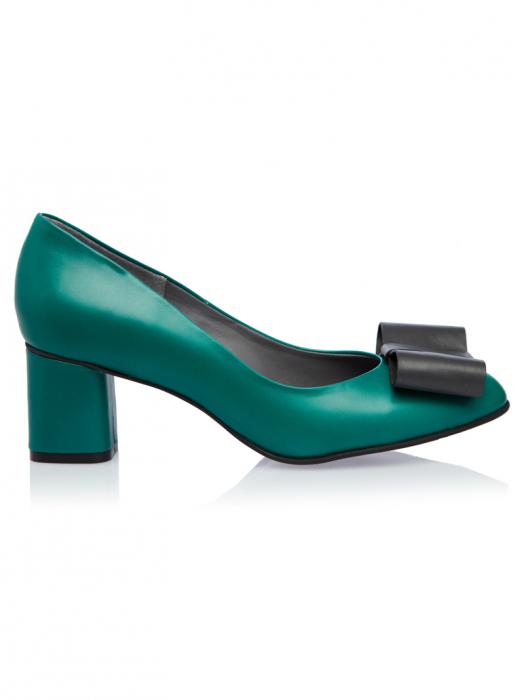 Pantofi cu toc gros din piele naturala Patricia 0