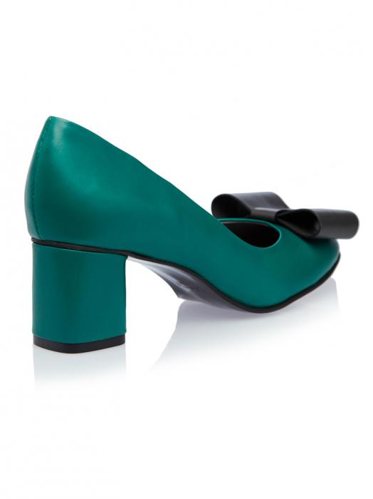 Pantofi cu toc gros din piele naturala Patricia 2