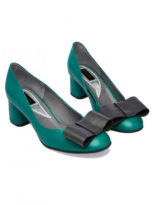 Pantofi cu toc gros din piele naturala Patricia 1