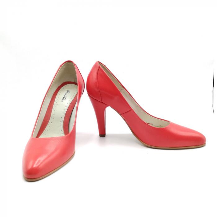 Pantofi stiletto din piele naturala Red Passion 2