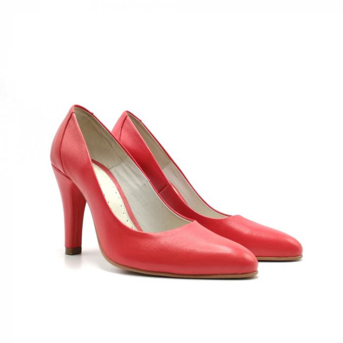 Pantofi stiletto din piele naturala Red Passion 1