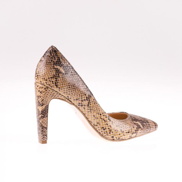Pantofi stiletto din piele naturala Brown Snake [2]