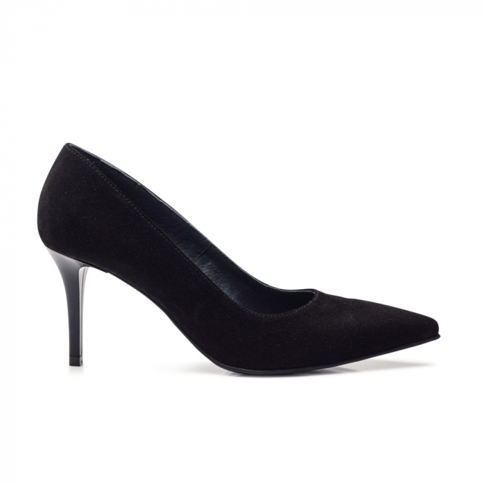 Pantofi stiletto negri cu toc mediu din piele naturala intoarsa, 40 1