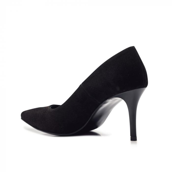 Pantofi stiletto negri cu toc mediu din piele naturala intoarsa, 40 3