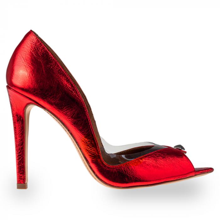 Pantofi stiletto Mihai Albu din piele rosie Cherry Bomb [0]