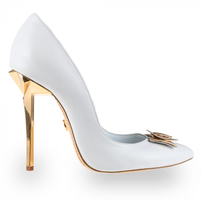 Pantofi stiletto Mihai Albu din piele alba Posh Bride [0]