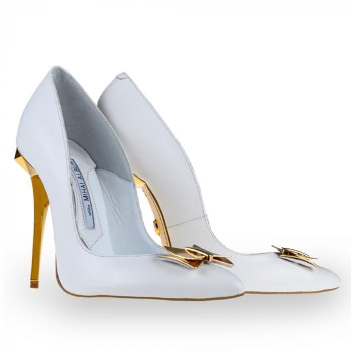 Pantofi stiletto Mihai Albu din piele alba Posh Bride [1]