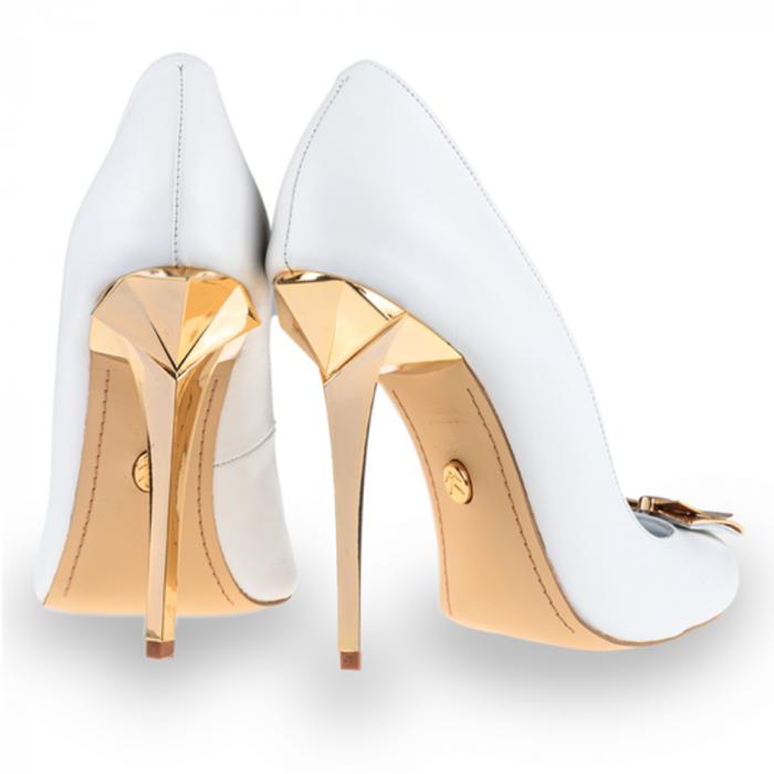 Pantofi stiletto Mihai Albu din piele alba Posh Bride [2]