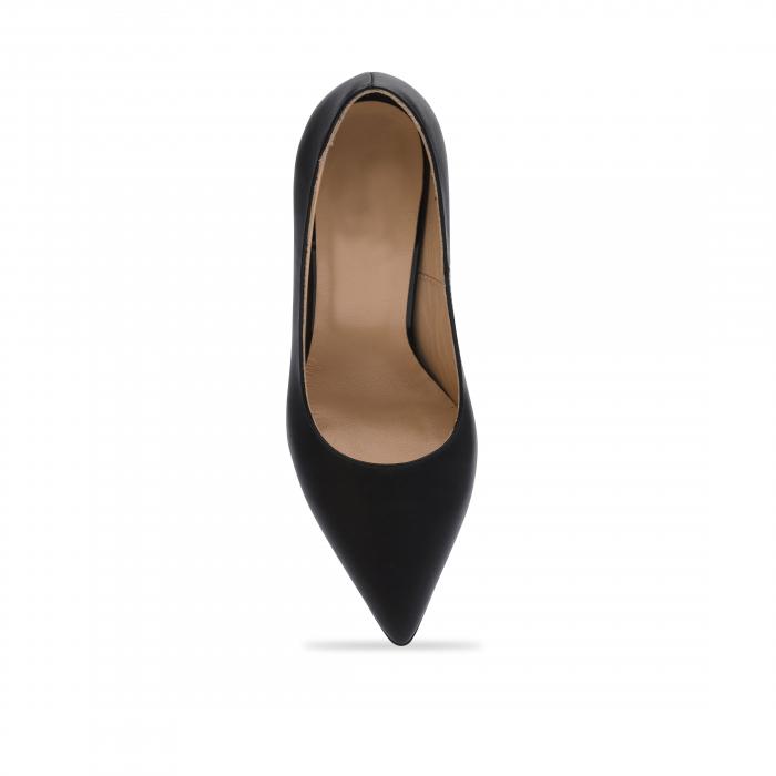 Pantofi stiletto negri cu toc mediu din piele naturala CA23, 40 4