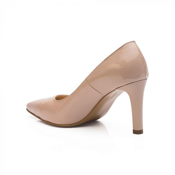 Pantofi stiletto nude cu toc mediu din piele naturala lacuita 2