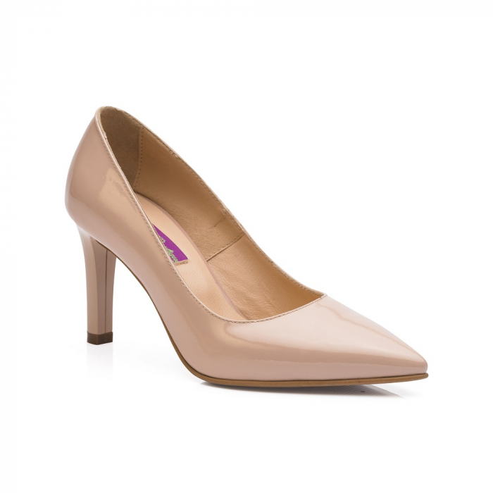 Pantofi stiletto nude cu toc mediu din piele naturala lacuita 1