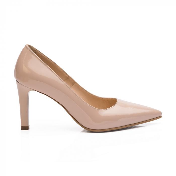 Pantofi stiletto nude cu toc mediu din piele naturala lacuita, 40 0