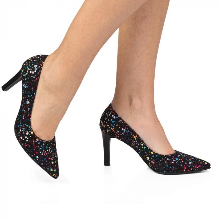 Pantofi stiletto cu toc mediu din piele naturala cu imprimeu multicolor CA23 0