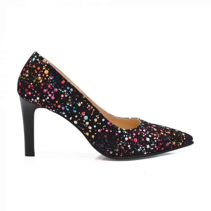 Pantofi stiletto cu toc mediu din piele naturala cu imprimeu multicolor 1