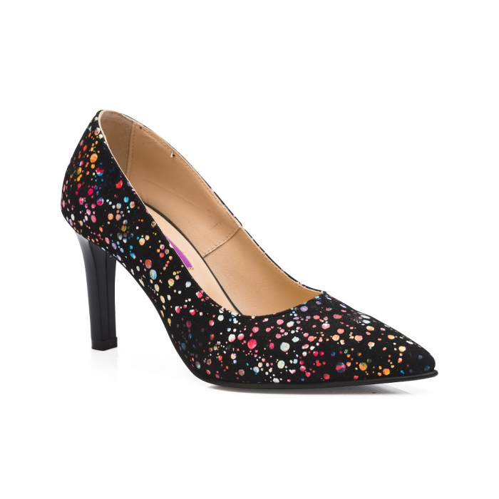 Pantofi stiletto cu toc mediu din piele naturala cu imprimeu multicolor CA23 2