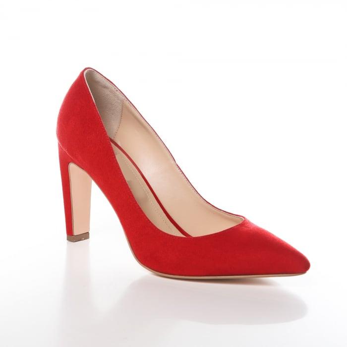 Pantofi stiletto rosii din piele intoarsa Briquette 1