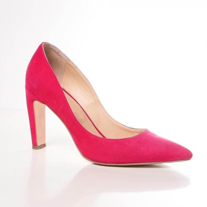 Pantofi stiletto fucsia din piele intoarsa Briquette 1