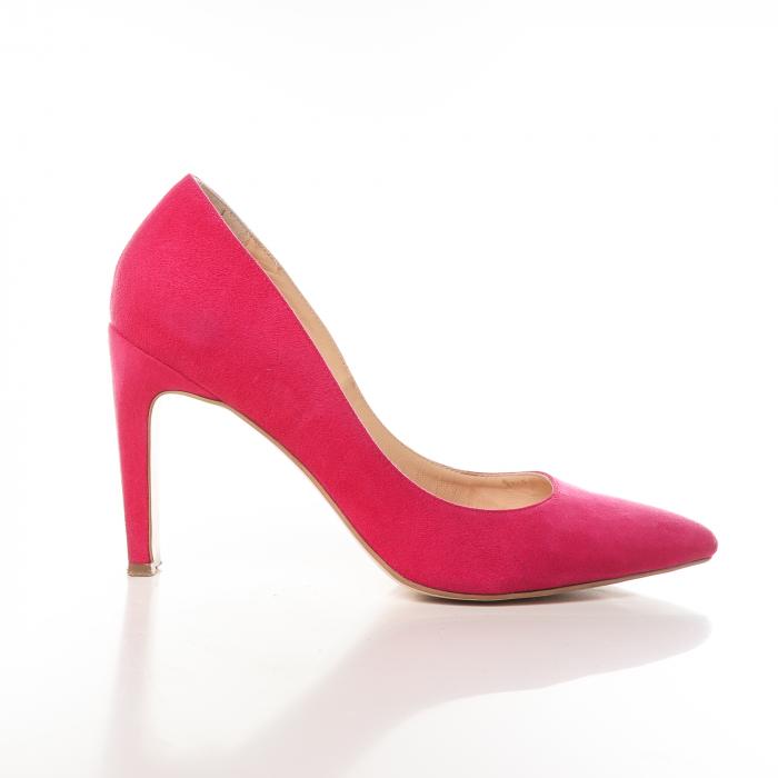 Pantofi stiletto fucsia din piele intoarsa Briquette 0