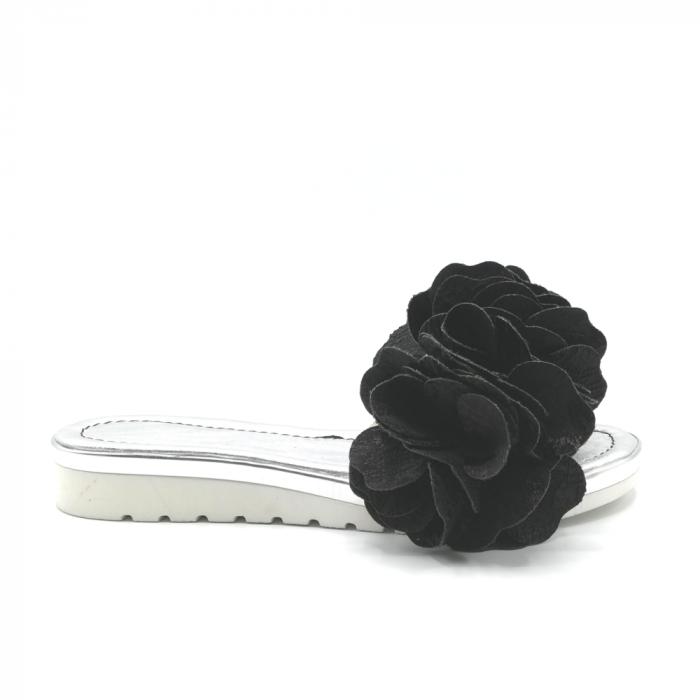 Papuci dama din piele naturala cu flori supradimensionate 0