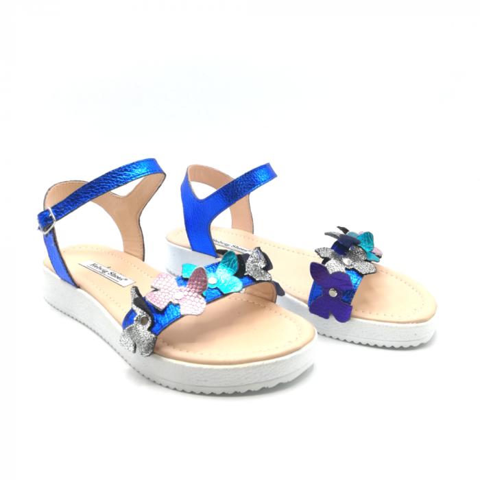 Sandale dama cu platforma si flori din piele naturala Blue Metal 1