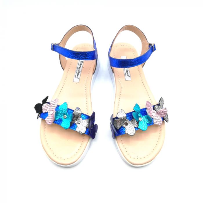 Sandale dama cu platforma si flori din piele naturala Blue Metal 2