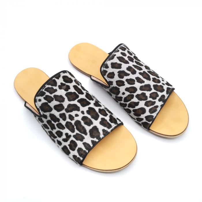 Papuci dama din piele de ponei Araya Animal Print [1]