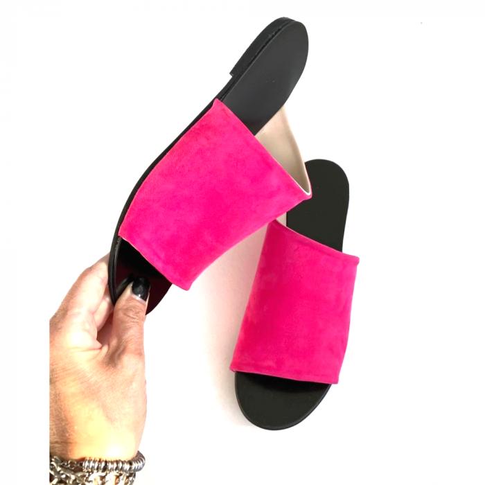 Papuci dama din piele intoarsa fucsia Lexi [3]