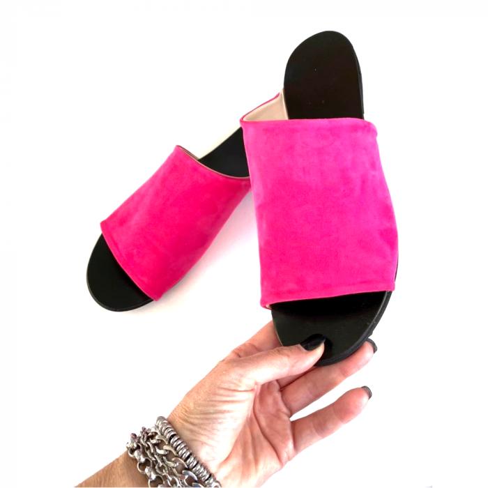 Papuci dama din piele intoarsa fucsia Lexi [1]