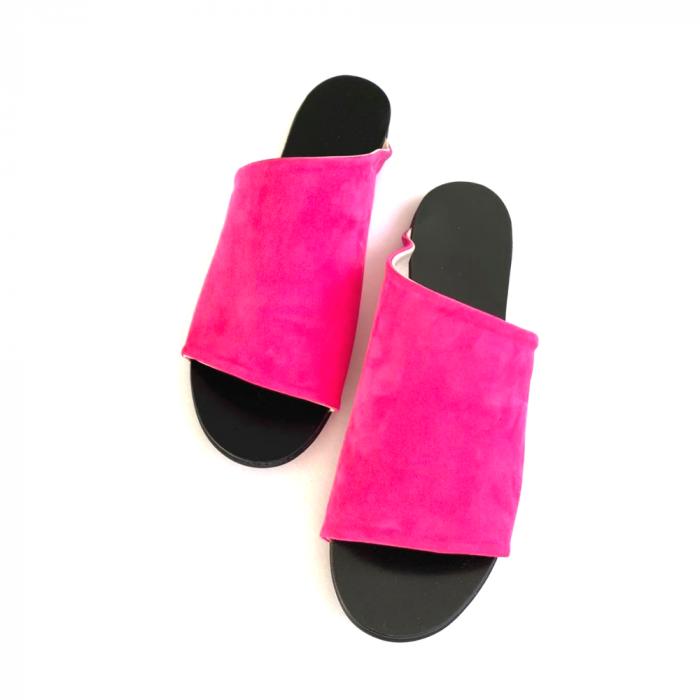 Papuci dama din piele intoarsa fucsia Lexi [2]