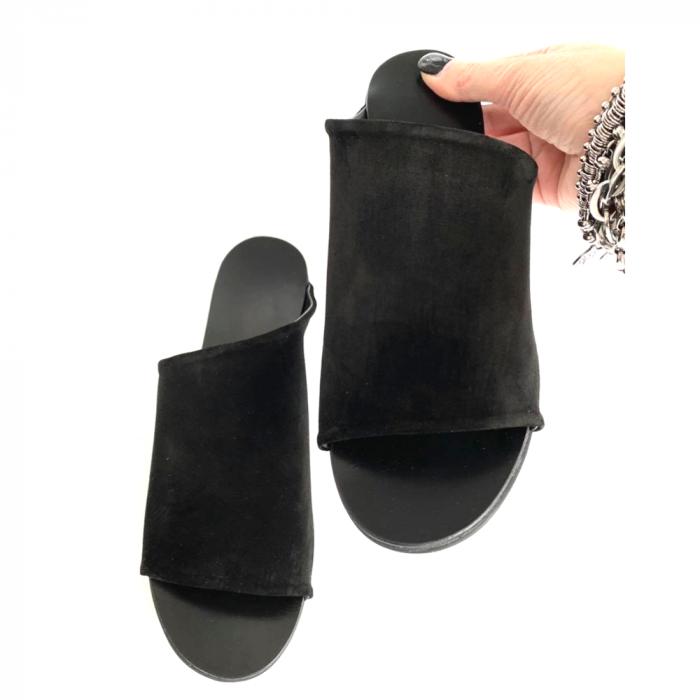 Papuci dama din piele intoarsa neagra Lexi [1]