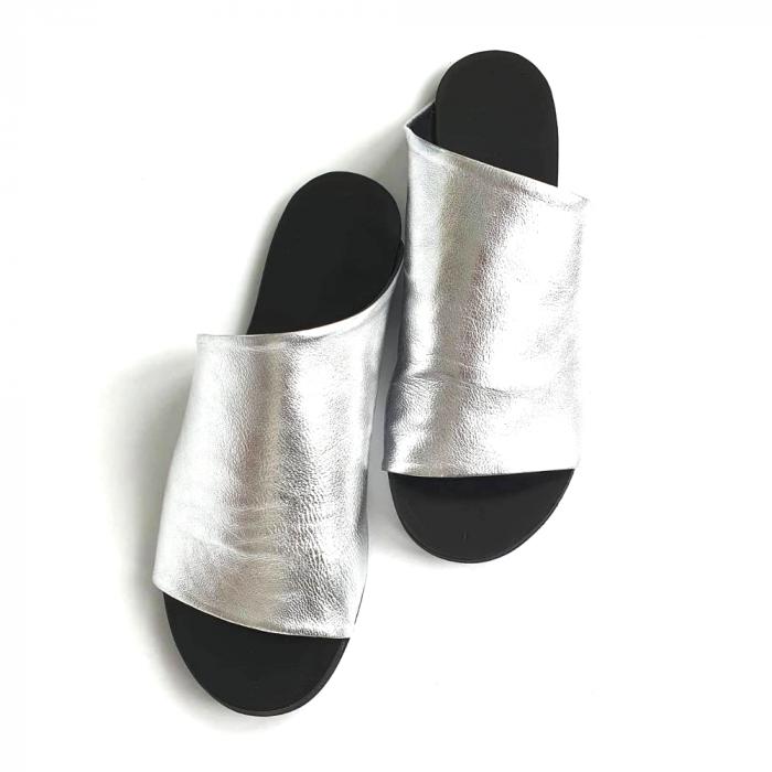Papuci dama din piele naturala argintie Lexi [2]