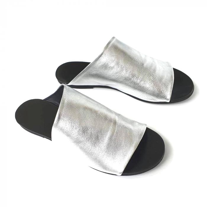Papuci dama din piele naturala argintie Lexi [0]