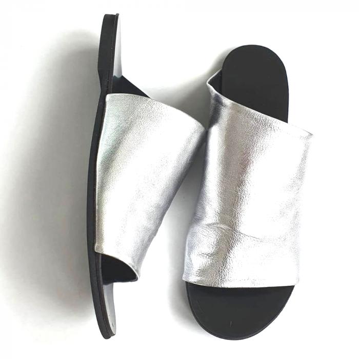 Papuci dama din piele naturala argintie Lexi [3]