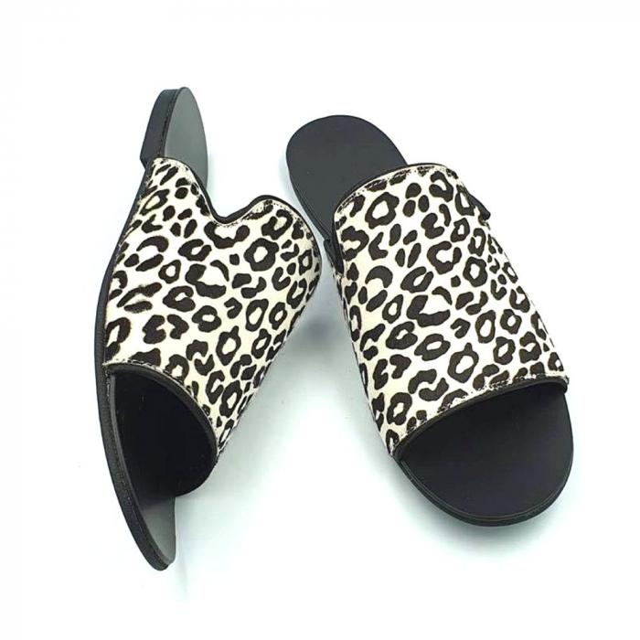 Papuci dama din piele naturala Araya Animal Print 1
