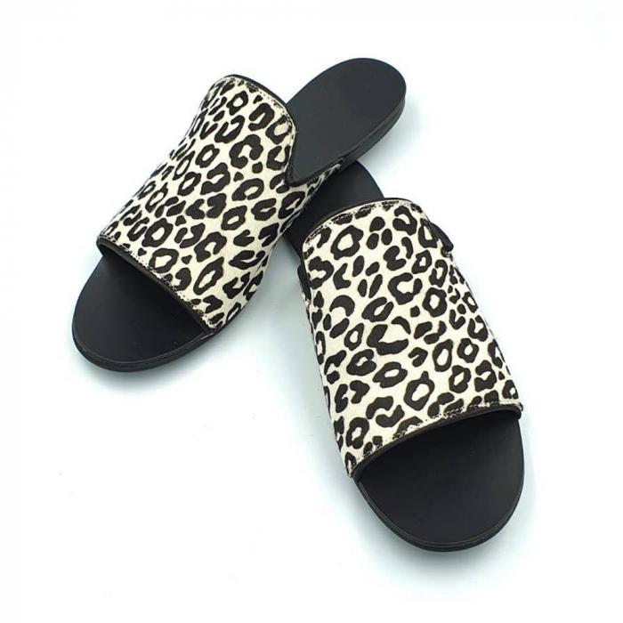 Papuci dama din piele naturala Araya Animal Print 3