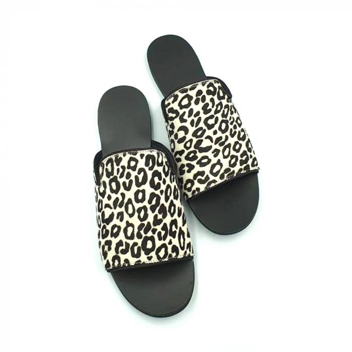 Papuci dama din piele naturala Araya Animal Print 4