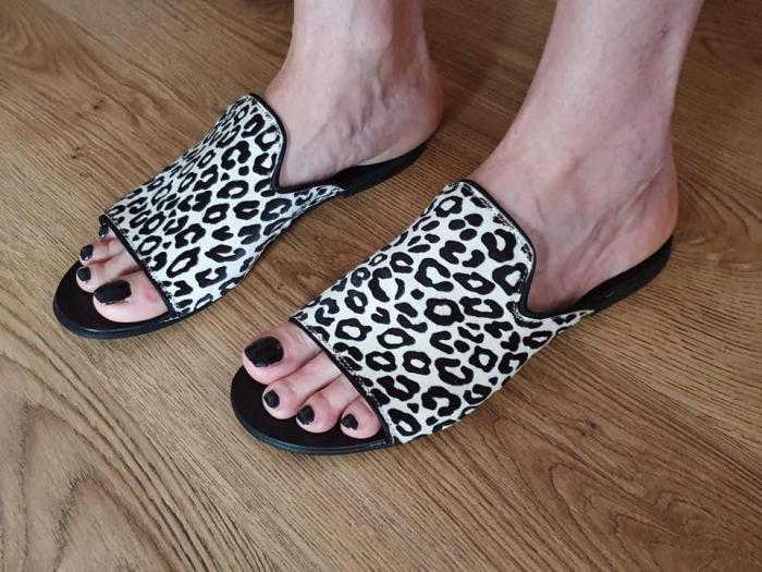 Papuci dama din piele naturala Araya Animal Print 5