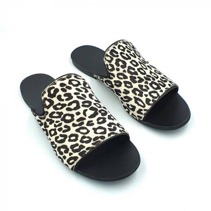 Papuci dama din piele naturala Araya Animal Print 0