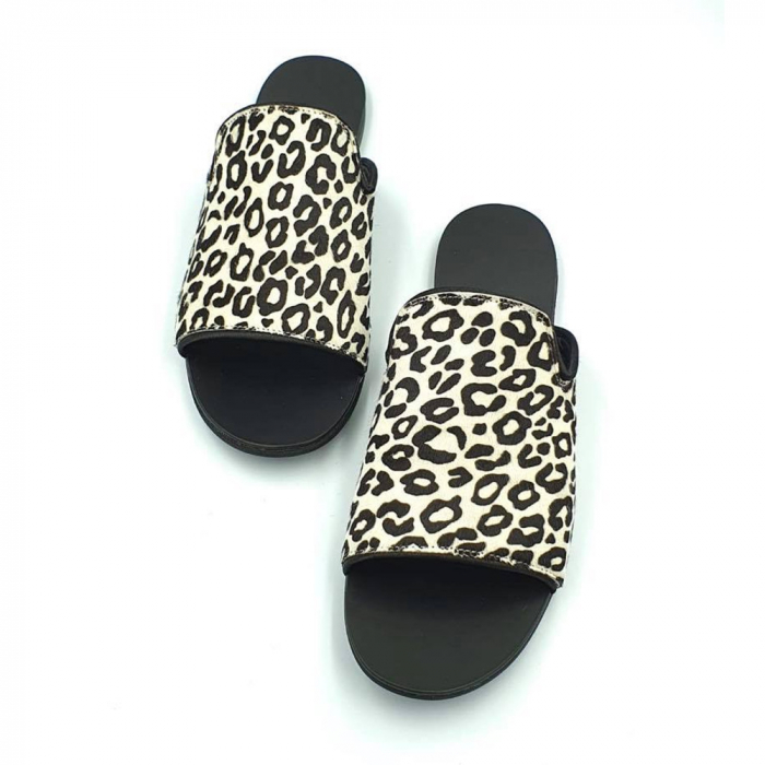 Papuci dama din piele naturala Araya Animal Print 2