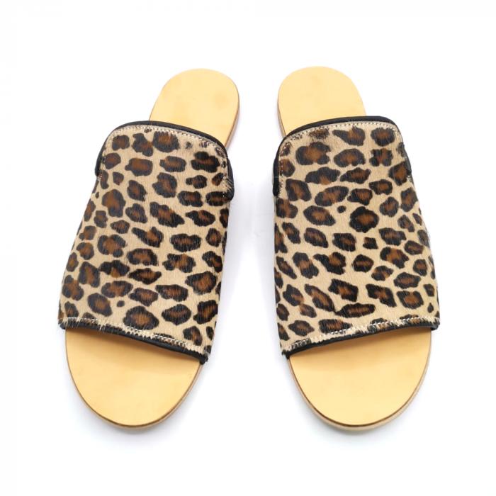 Papuci dama din piele de ponei Araya Animal Print bej [1]