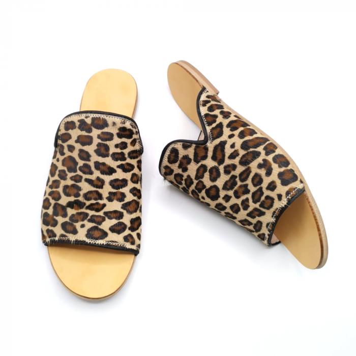 Papuci dama din piele de ponei Araya Animal Print bej, 39 [3]