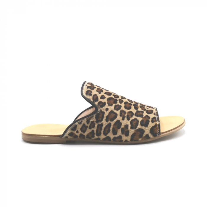Papuci dama din piele de ponei Araya Animal Print bej, 39 [0]