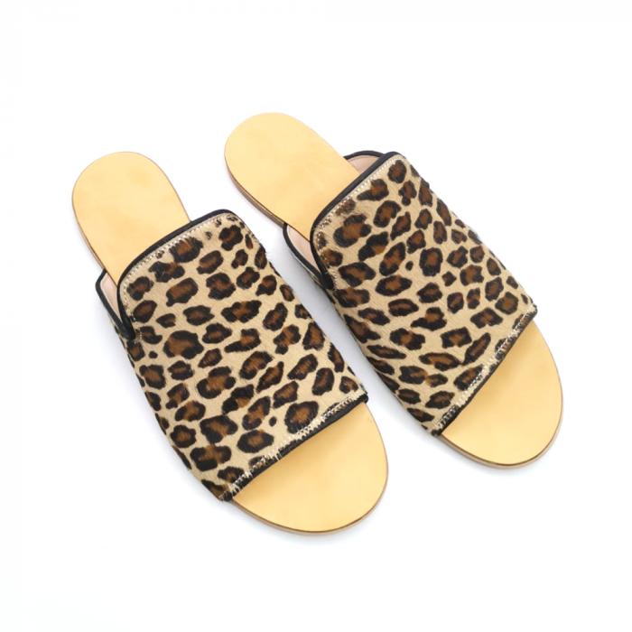 Papuci dama din piele de ponei Araya Animal Print bej [5]
