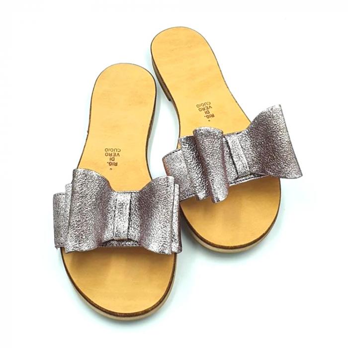 Papuci de dama din piele cu funda dubla Copper 1