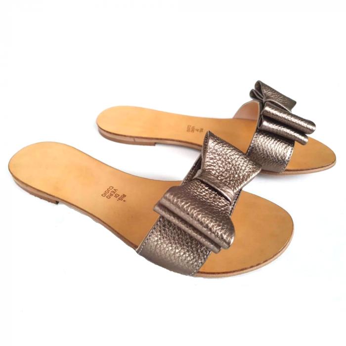 Papuci de dama din piele cu funda dubla Bronze 1
