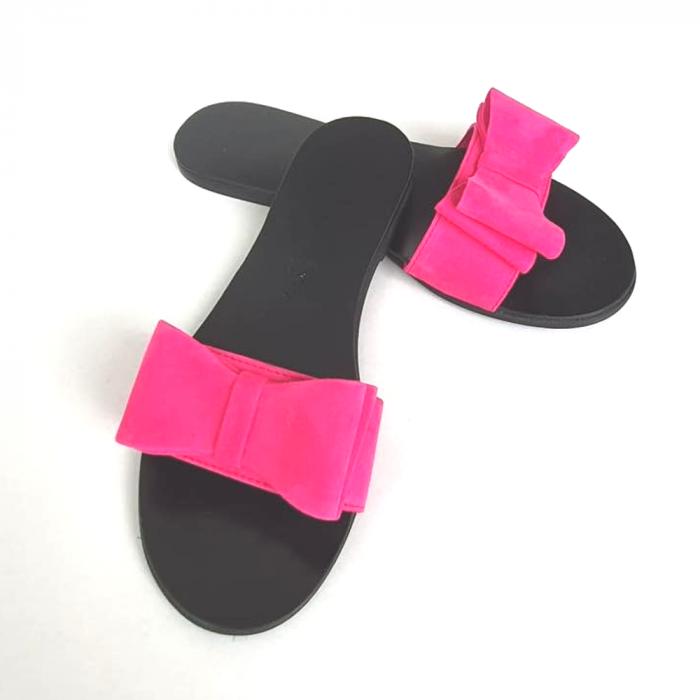 Papuci de dama din piele cu funda dubla Fucsia Miss 2