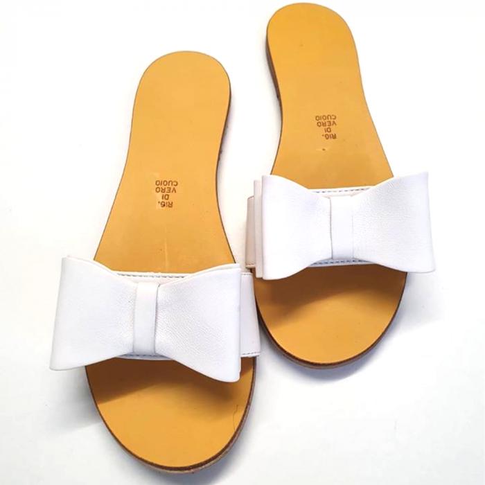 Papuci de dama din piele cu funda dubla Pure White 0