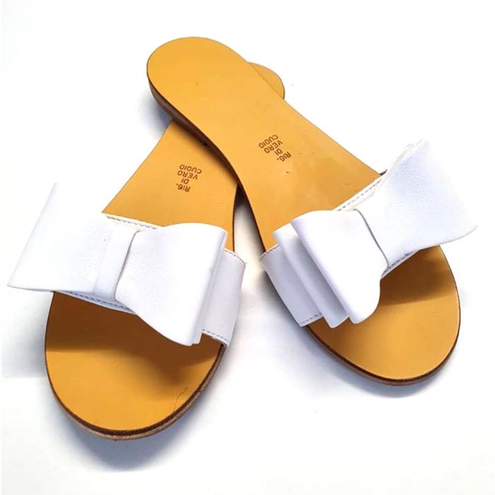 Papuci de dama din piele cu funda dubla Pure White 1